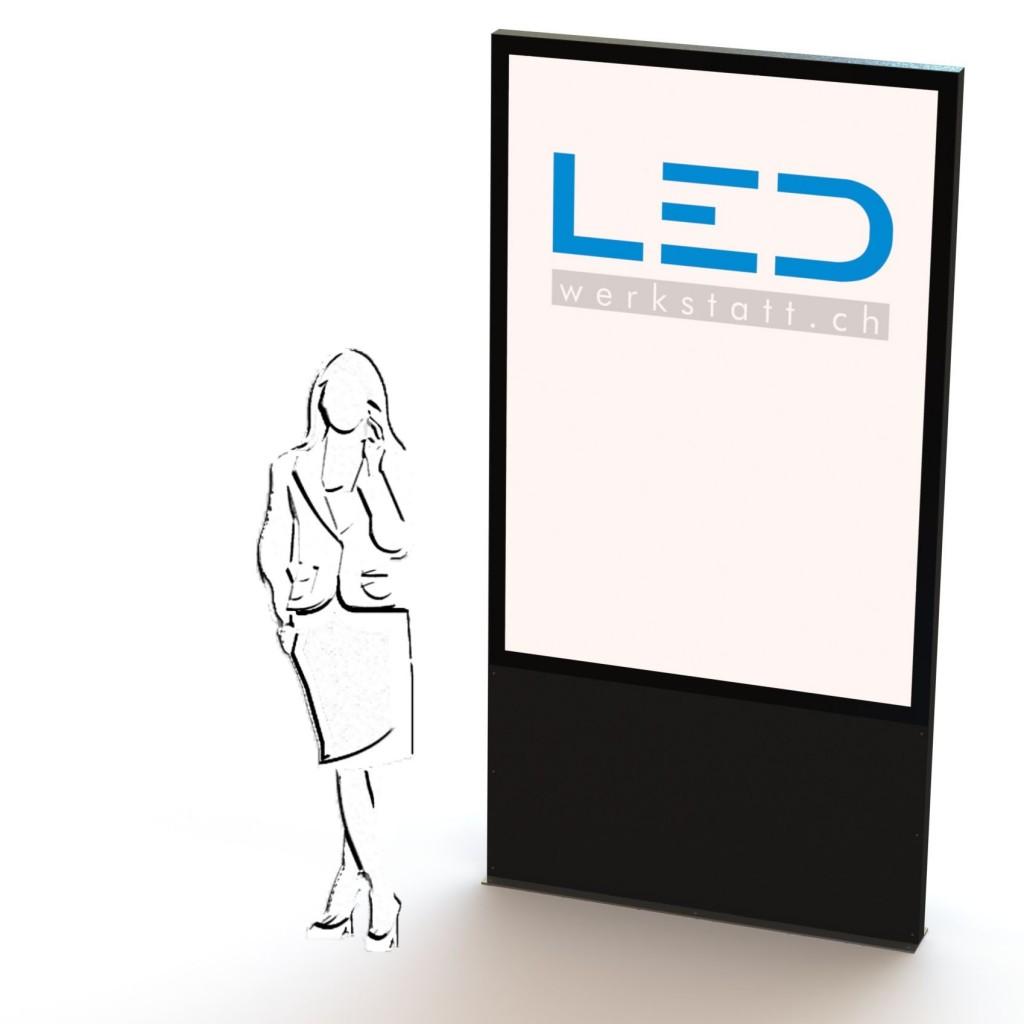 LED Leuchtreklame F200, Leuchtreklame LED-Stele Slimline F200 Plakatleuchte Firmenbeschriftung, Panneau publicitaire, Totem, Enseigne lumineux