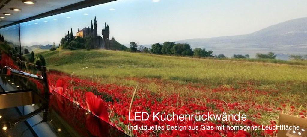 Küchenrückwand LED, Leuchtwand, Flachleuchte, Beleuchtet, hinterleuchtet, Toscana, Moonblume