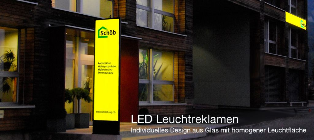 Leuchtkasten, Leuchtreklamen LED, LED Pylone, LED Leuchtkasten, Schöb AG, Gams, St. Gallen, LED Pylone, Totem