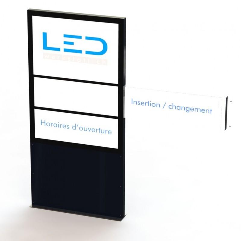 Stele mit Wechselschild A0 Pylone mit Einschubmappe LED Leuchtwerbung