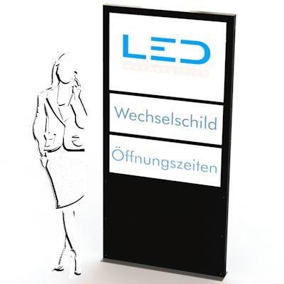 Stele mit Wechselschild Slimline A0 Flex Einschub, Firmenbeschriftung, Gewerbe Stele, LED Leuchtreklame, Leuchtwerbung, Leuchtschild, Panneau publicitaire, Totem