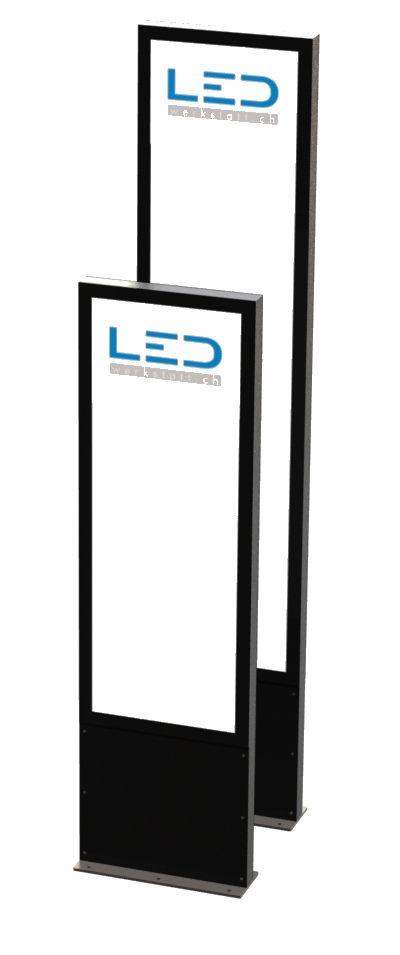 Leuchtstele mt LED, Slimline 3 x A2 Hoch Firmen- & Produktbeschriftung