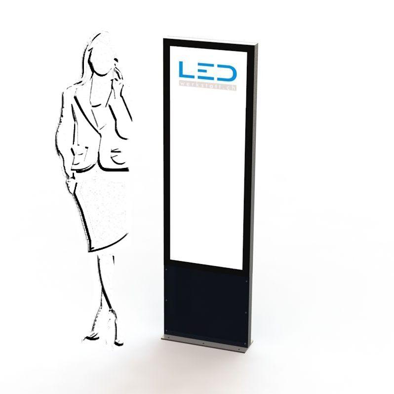 PY-15045-0 LED Pylone 2xA2 Panneau publicitaire, Totem publicitaire, Leuchtreklame, Leuchtwerbung, LED-Pylonen, LED-Stelen, Werbesäule, Firmenbesriftung, Signalisation,
