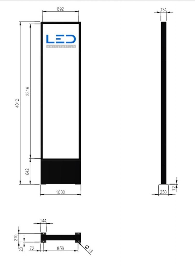 LED Leuchtpylon 1 x 4m