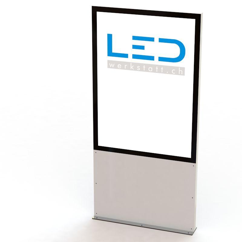 LED Stele A0 RAL9003, Panneau publicitaire, Totem publicitaire, Leuchtreklame, Leuchtwerbung, LED-Pylonen, LED-Stelen, Werbesäule, Firmenbeschriftung, Signalisation, Plakatwerbung, Enseignes publicitaries