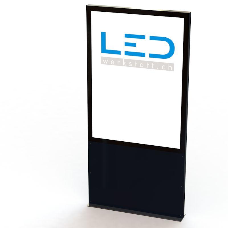 LED Stele A0 RAL9005 Panneau publicitaire, Totem publicitaire, Leuchtreklame, Leuchtwerbung, LED-Pylonen, FirmenbeSchriftung, Signalisation, Enseigne publicitaire