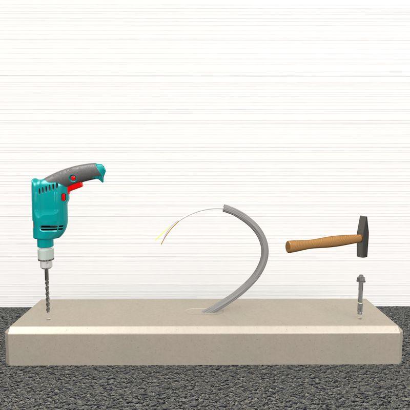 Montage Stele, Sockellöcher bohren Schritt 1