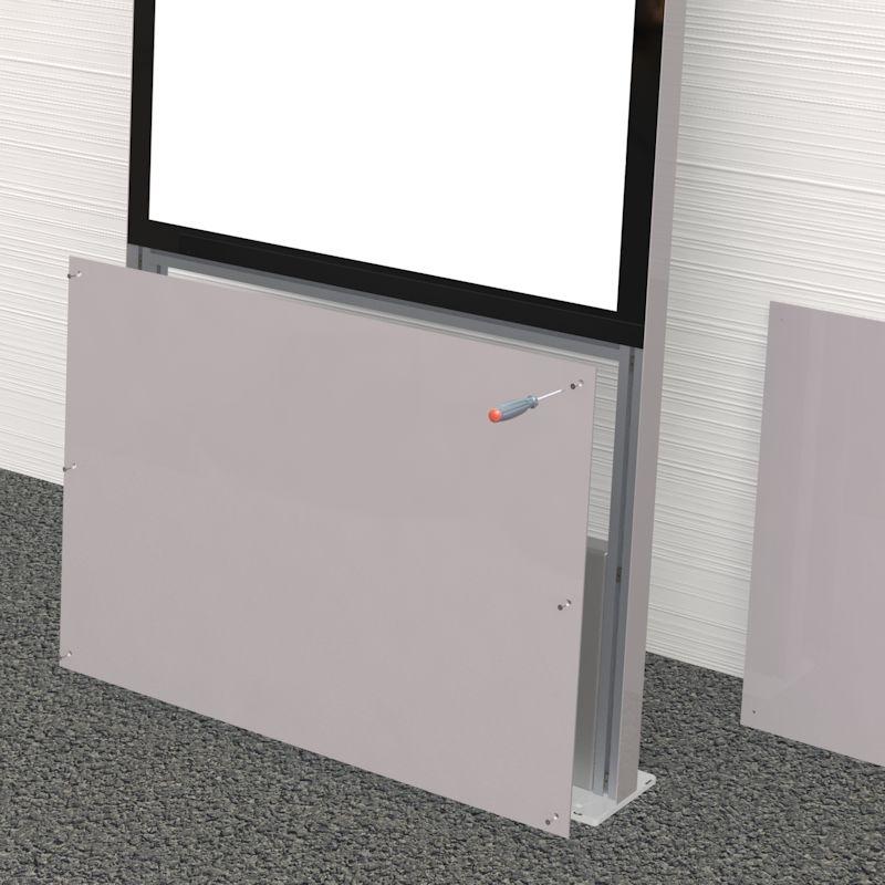 Montage Stele Schritt 2 Slimline Pylone Gebrauchsanweisung, Front-Abdeckung entfernen