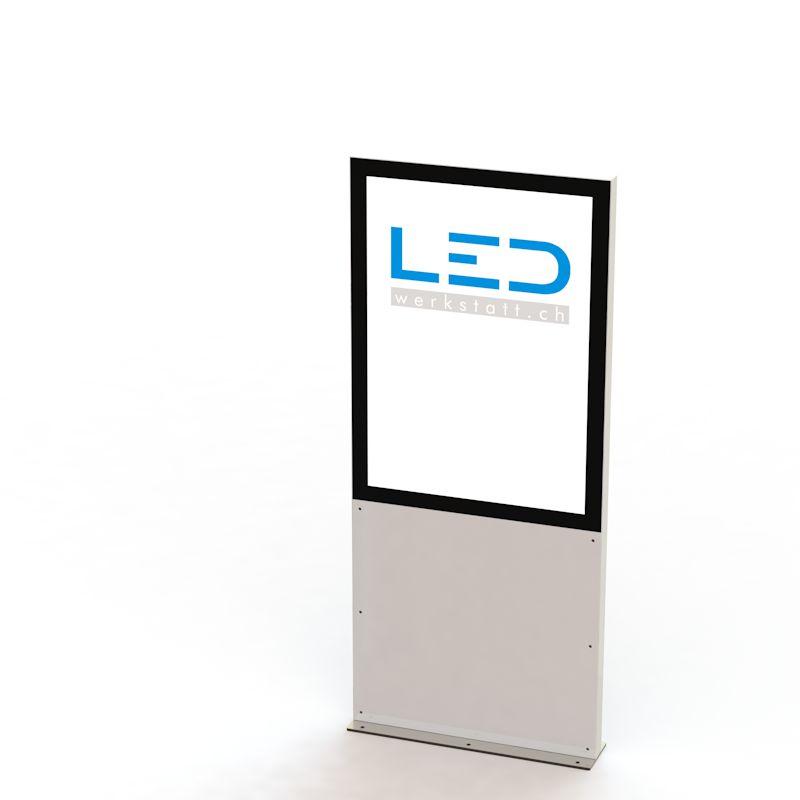 LED Werbestele A1 RAL9003 Pylôn, Leuchtreklame, Leuchtwerbung, LED-Pylonen, LED-Stelen, Werbesäule, Firmenbeschriftung