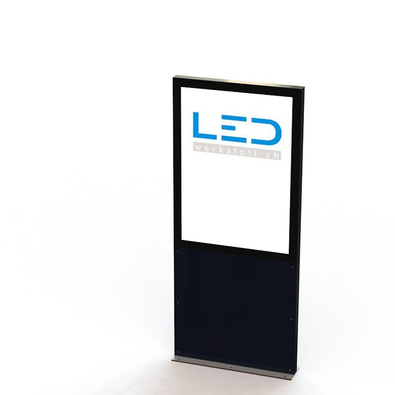 LED-Werbestele A1 EAL9005, Panneau publicitaire, Enseignes, Pylôn, Totem publicitaire, Leuchtreklame, Leuchtwerbung, LED-Pylonen, LED-Stelen, Werbesäule, Firmenbeschriftung, Signalisation, Plakatwerbung