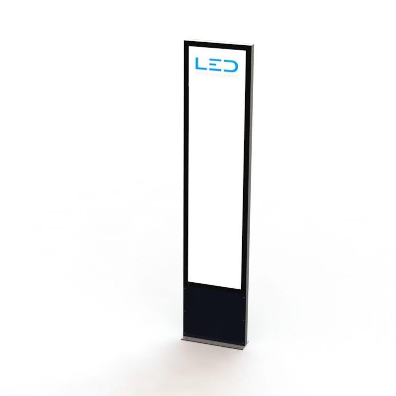 LED Pylone 3xA2 Ral9005 Panneau publicitaire, Totem publicitaire, Leuchtreklame, Leuchtwerbung, LED-Pylonen, LED-Stelen, für Gewerbeparks, Firmenbesriftung