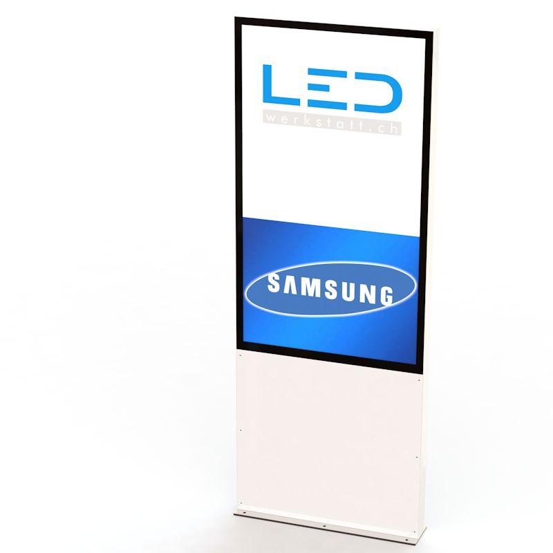 55 Zoll Monitorstele RAL9003, Digital Signage, Monitor Pylone, Monitorlösung, Interaktive Werbung, Präsentationen, Werbefilme, Samsung Monitor mit Setupbox