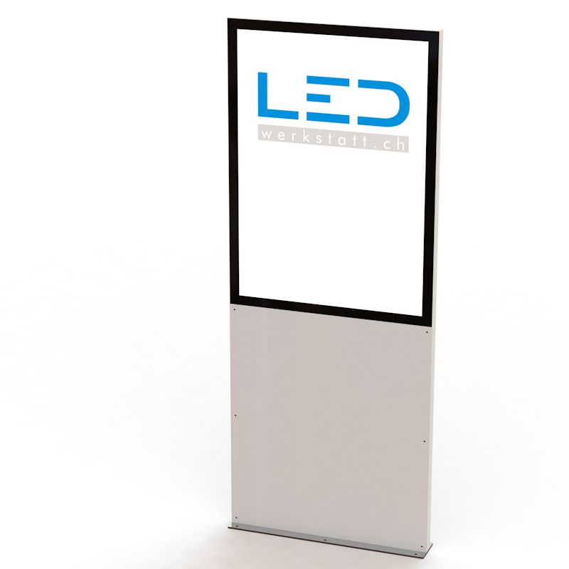 PY-15086-0 Stele RAL9003 Panneau publicitaire, Totem publicitaire, Leuchtreklame, Leuchtwerbung, LED-Pylonen, LED-Stelen, für Gewerbeparks, Firmenbesriftung