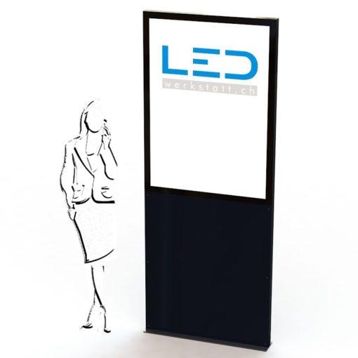 LED Stelen, Leuchtreklame, Leuchtwerbung, LED-Pylonen für Gewerbeparks, Firmenbesriftung RAL9005