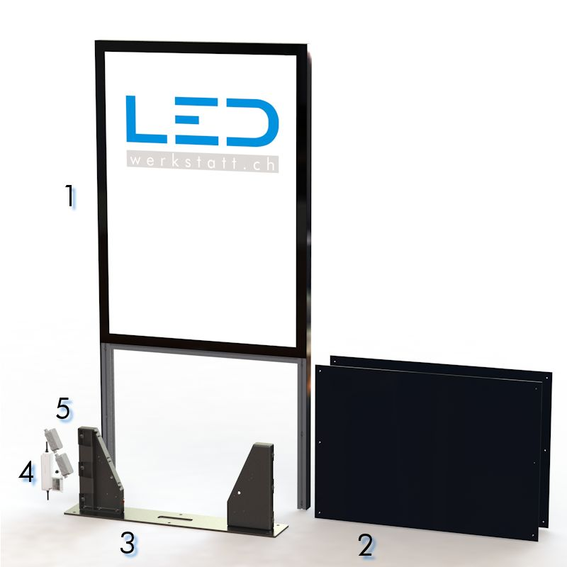 Panneau publicitaire, Totem publicitaire, Leuchtreklame, Leuchtwerbung, LED-Pylonen, LED-Stelen, für Gewerbeparks, Firmenbesriftung Pylone-RAL3020