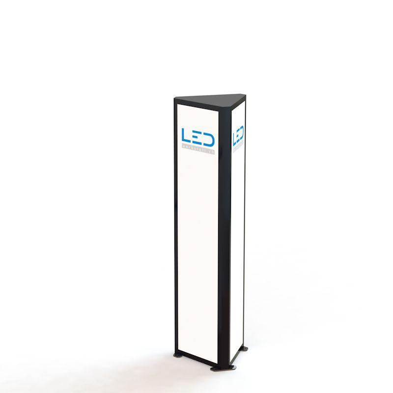 PY-15090 Advertising Tower Ral9005, Werbeturm Dreiseitig mit LED Beleuchtung, tour de publicité, Stelen, Pylonen, torre di pubblicità
