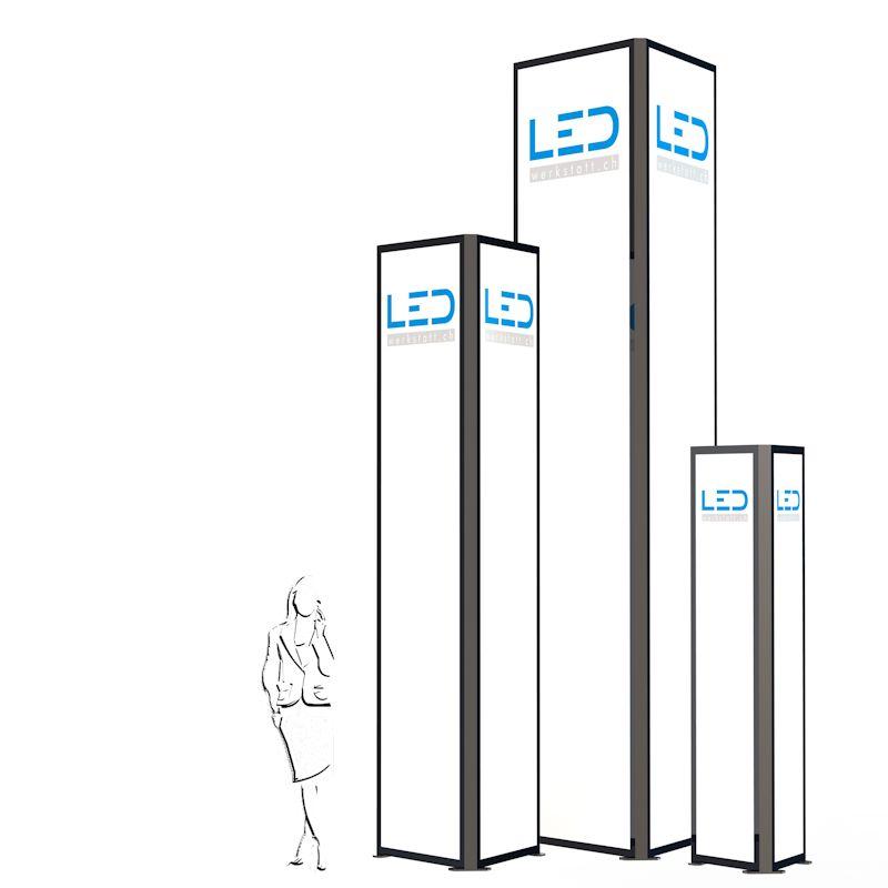 LED Werbeturm Dreiseitig mit LED Beleuchtung, Advertising Tower, Stelen und Pylonen, Paneaux Publicitaires, Totems, LED Leuchtreklame, Leuchtwerbung
