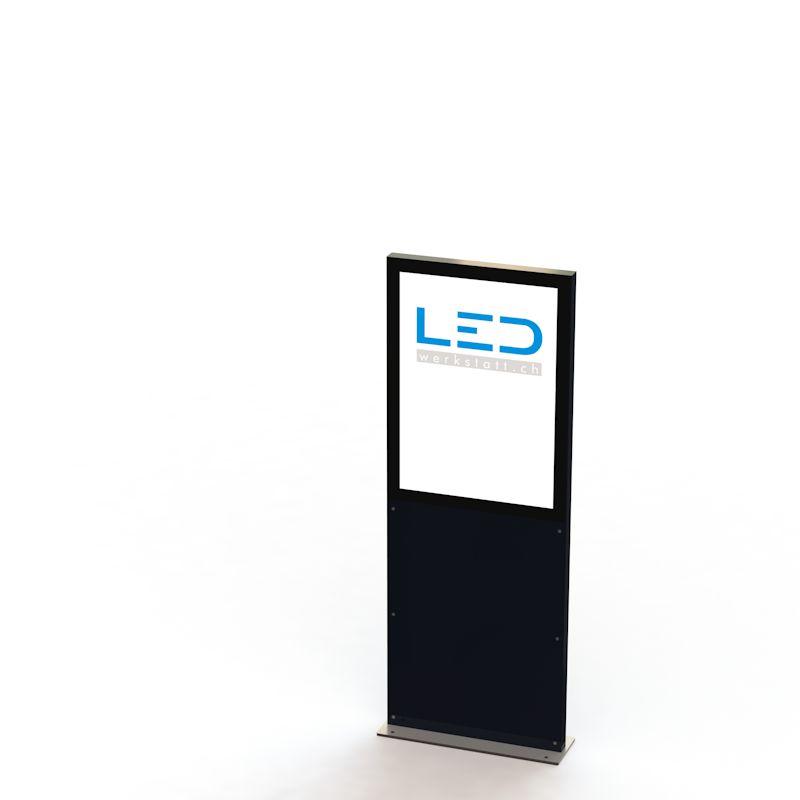 A2 Stele RAL9005 Leuchtreklame, Leuchtwerbung, LED-Pylonen, LED-Stelen, Werbesäule, Firmenbesriftung, Signalisation