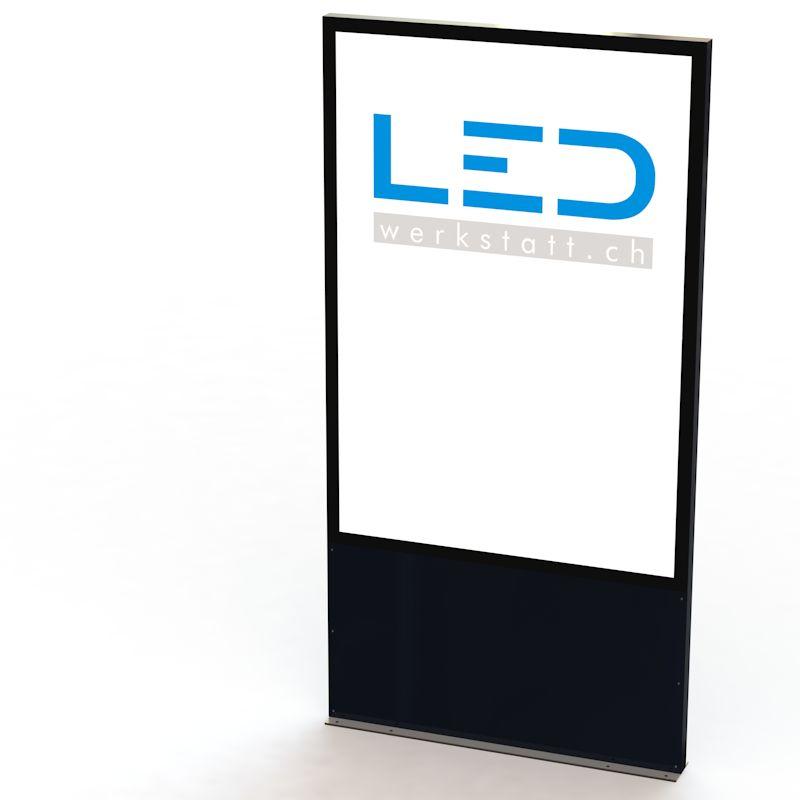 F200 Stele RAL9005 LED Leuchtreklame Panneau, Totem publicitaire,Leuchtwerbung, LED-Pylonen, LED-Stelen, Werbesäule, Firmenbeschriftung, Signalisation, Plakatwerbung