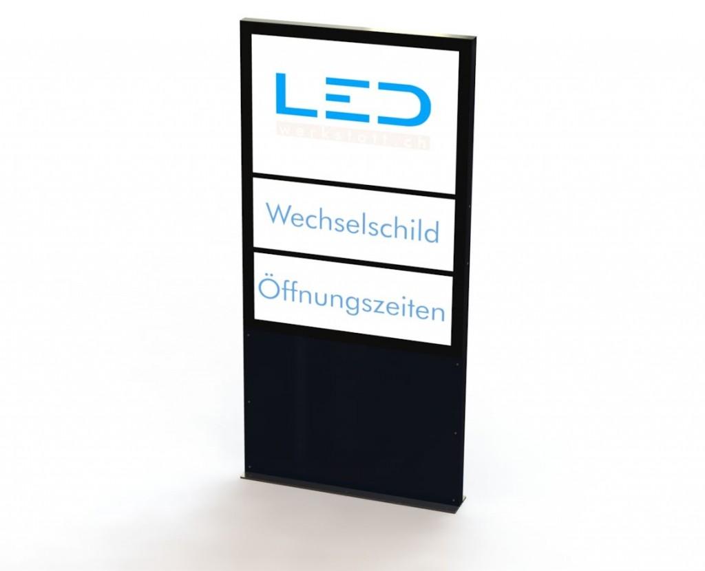 A0 Flex Stele mit Wechselschild RAL9005 Matt, LED Pylone, LED Leuchtreklame, Leuchtwerbung