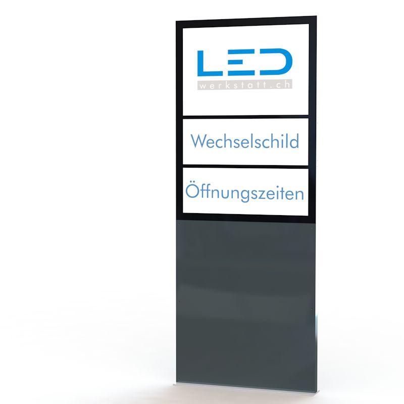 Stele A0 Flex Hoch RAL7016 Totem publicitaire, Leuchtreklame, Leuchtwerbung, LED-Pylonen, LED-Stelen für Gewerbeparks mit Wechselschild