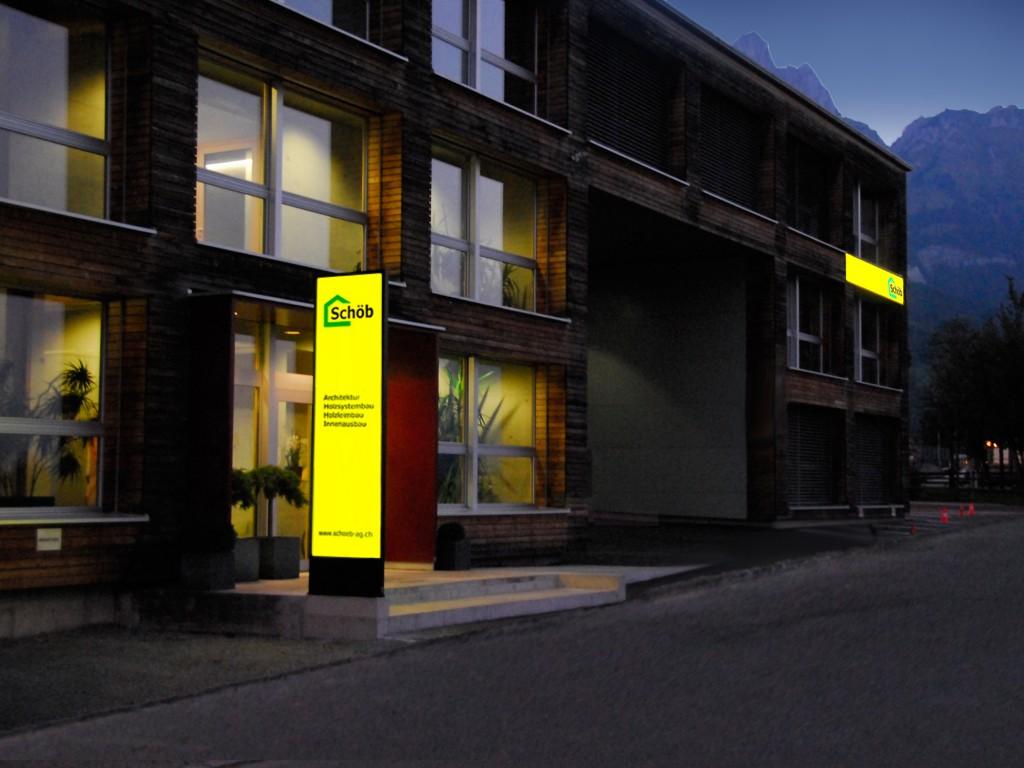 LED Leuchtwerbung Schöb AG Gams, Pylone und Wandschild, Leuchtreklame