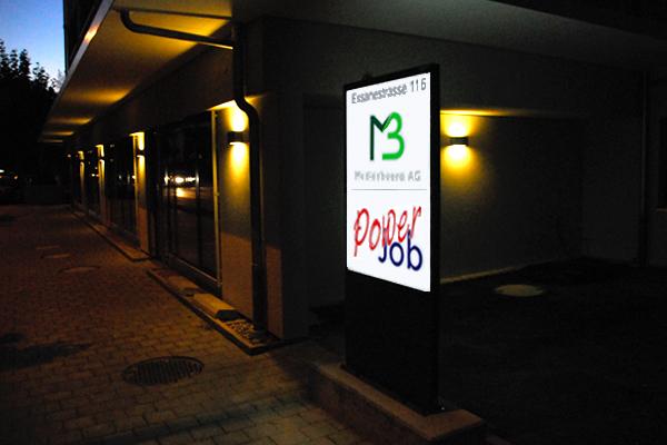 Pylone Medienbüro & PowerJob, Leuchtkasten, Stele, LED Leuchtwerbung, Leuchtreklame, Pylon, Leuchtpylone, Werbepylone, Werbestele, Leuchtstele