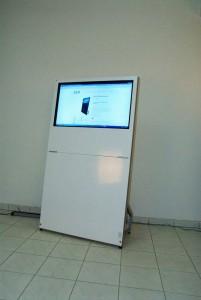 Digital Signage Mobile, Monitorstele 40Zoll, Monitorpylone Mobil 40Zoll, Mobiles Display für Messen, Seminare und Präsentationen