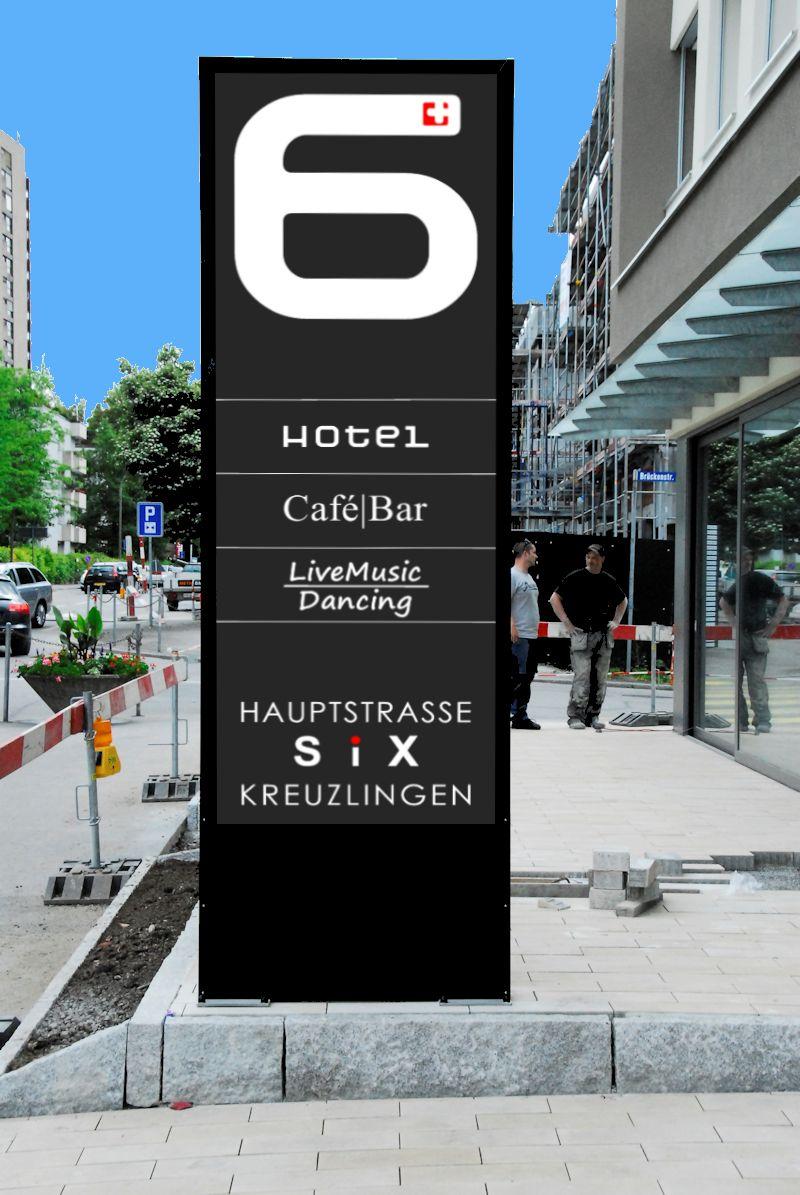 LED Stele, Leuchtpylone, Pylon, Leuchtkasten für Hotel SIX in Kreuzlingen