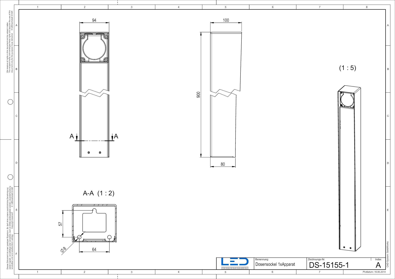 Steckdosensäule ESocket900, Energiesäule, Masszeichnung