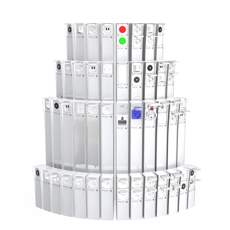 Montage ESOCKET, Elektrosäule, Steckdosensockel, Steckdosensäule mit Schweizer Steckdosen T13, T15, T23 sowie Schuko Steckdosen und Schalter