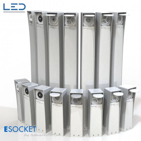 Elektrosäule ESOCKET 350 und 900, Steckdosensockel, Steckdosensäule mit Schweizer Steckdosen T13, T15, T23 sowie Schuko Steckdosen und Schalter