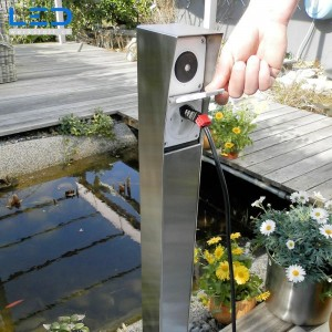 Gartensteckdose, Steckdosensockel für Ihren Garten, Aussensteckdose aus Edelstahl, ESOCKET 900