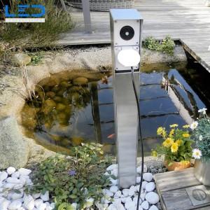 Gartensteckdosensäule mit Schalter Inox, Steckdosensockel ESOCKET 900 für Ihren Garten, Aussensteckdose aus Edelstahl, Steckdosensäule