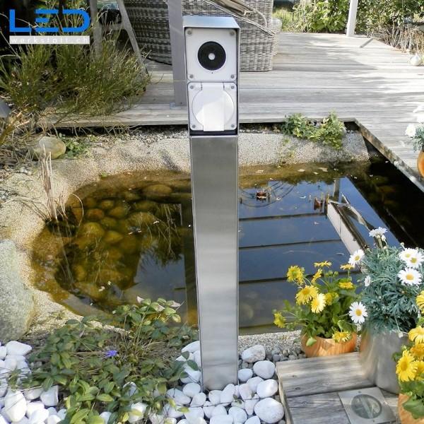 Gartensteckdose, Steckdosensockel für Ihren Garten, Aussensteckdose aus Edelstahl