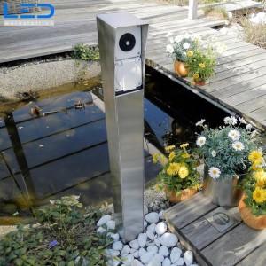 Steckdosensäule, Gartensteckdose, Steckdosensockel für Ihren Garten, Aussensteckdose aus Edelstahl, Swissmade