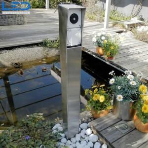Gartensteckdose, Steckdosensäule für Ihren Garten, Aussensteckdose aus Edelstahl