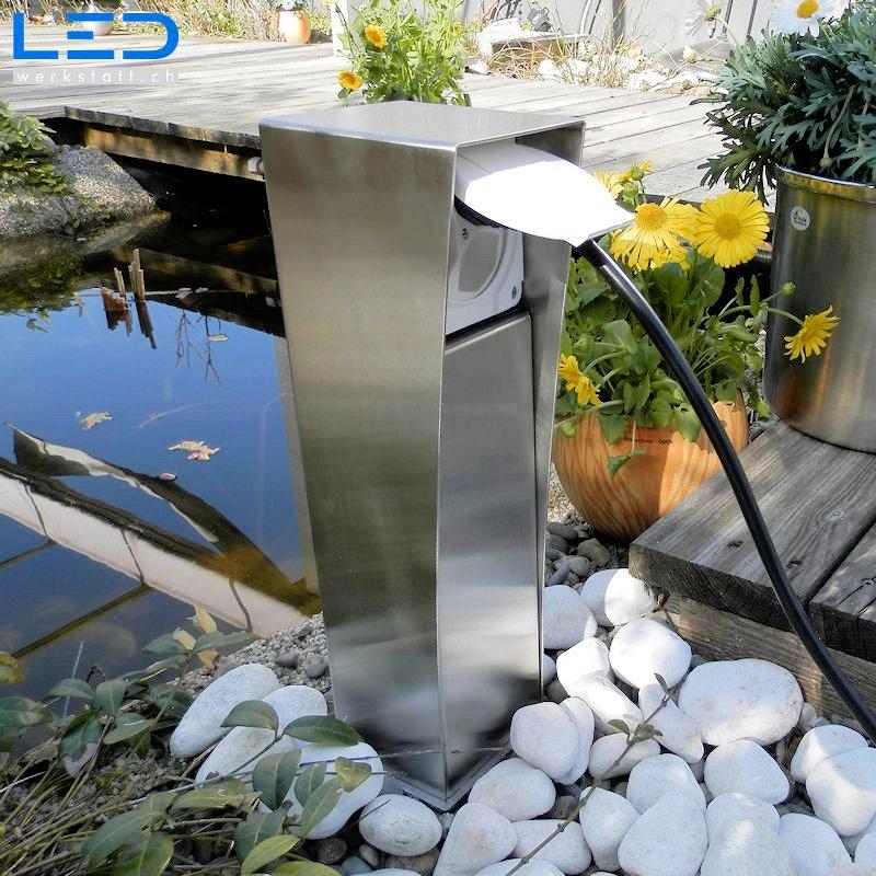 Gartensteckdose, Steckdosensockel für Ihren Garten, Aussensteckdose aus Edelstahl, Swissmade
