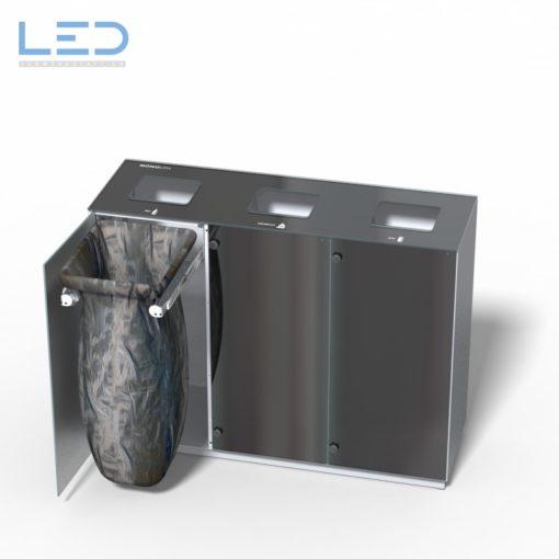 Monolith Trio Wertstoffbehälter, Wertstofftrennbehälter, Abfallsammelbehälter, Abfalleimer, Wertstoffsammler,Stadtmobiliar, Glas Alu Edelstahl