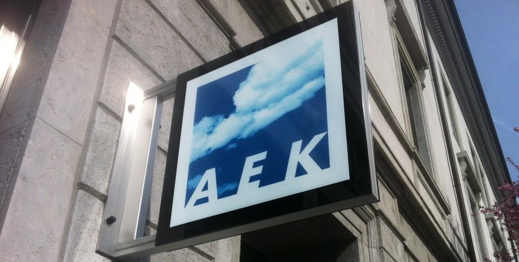 AEK Solothurn Leuchtschild, Leuchtkasten, LED Stechschild, Nasenschild, Swissmade by Ledwerkstatt.ch
