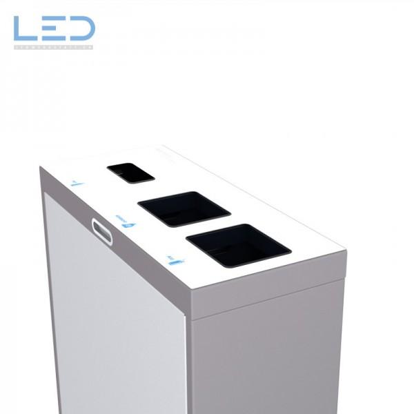 Multilith 3.0 Teststation, Recyclingstation, Wertstoffbehälter, Abfall Trenner, Recycling Stationen, Waste Bin, Entsorgungs Behälter, 3 fach