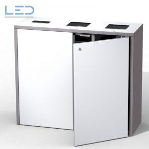 Comodo 3 Recyclingstation, Wertstoffbehälter, Abfallbehälter, Schlüssel DIN 3223, PET, Abfall, Alu Dosen, Swiss Made, Helvetiabin, Abfallhai, Trasch, Recycle, Garbage, Recycling Bin