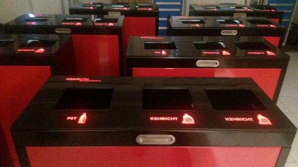 LED Wertstoffbehälter, Abfallbehälter, Abfall-Trennsystem für Kinos mit Beleuchtung