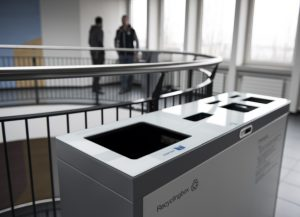 Multilith 2 x 110 & 60 Liter, Recyclingstation, Recycling Container, kommerzielle Mülleimer, Recyclingstation Büro, Recyclingstation Edelstahl, Recyclingstation Drinnen, Recyclingstation PET, Abfallbehälter, Wertstoffbehälter, 110 Liter, Swissmade
