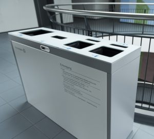 Multilith 4.0 Recyclingstation, Recycling Station Innen, Recycling im Büro, Recycling Behälter Edelstahl, Recycling Drinnen, PET Recycling, Abfallbehälter, Wertstoffbehälter, 110 Liter, Swiss Made