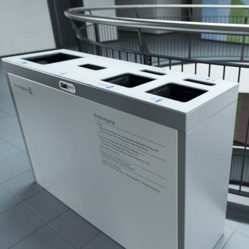 recycling supplies, Recyclingbox, Recyclingstation, Recycling Station Innen, Recyclingstationen Büro, Recyclingbehälter Edelstahl, Recyclingstation Drinnen, Recycling Box PET, Abfallbehälter, Wertstoffbehälter, 110 Liter, Swissmade, Schweiz, waste management