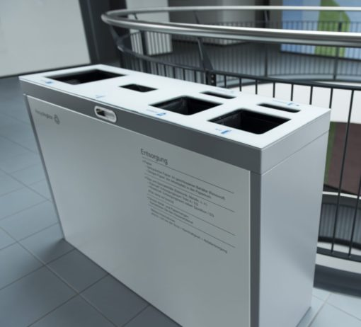 recycling supplies, Recyclingbox, Recyclingstation, Recycling Station Innen, Recyclingstationen Büro, Recyclingbehälter Edelstahl, Recyclingstation Drinnen, Recycling Box PET, Abfallbehälter, Wertstoffbehälter, 110 Liter, Swissmade, Schweiz, waste management, Trasch, Recycle, Garbage, Recycling Bin