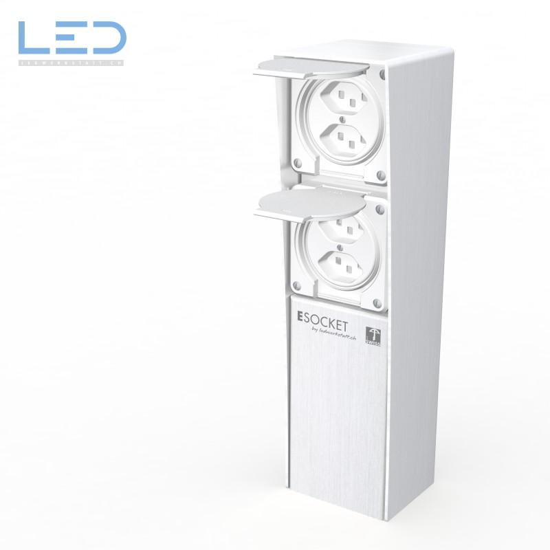 ESocket 350 Steckdosensäule 2 x T13, Steckdosen Sockel, Stromsäule, Elektrosäule, Gartensteckdose, Swiss Made, Hager