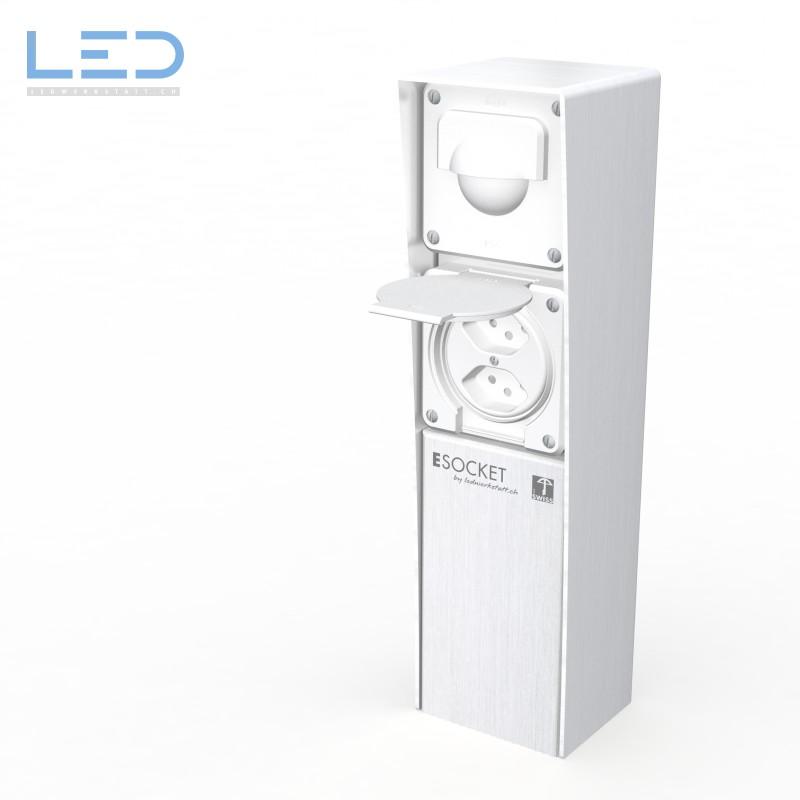 ESocket 350 Bewegungsmelder 2 x T13, Hager, Steckdosen Sockel, Stromsäule, Elektrosäule, Gartensteckdose, Swiss Made