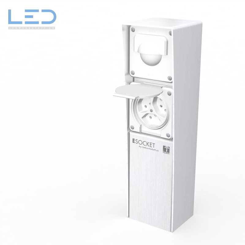 ESocket 350 Bewegungsmelder 3 x T13, Hager, Steckdosen Sockel, Stromsäule, Elektrosäule, Gartensteckdose, Swiss Made